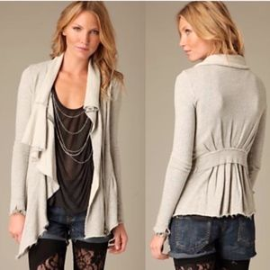 "Free People Cream Ruffle Zip ""Ebb & Flow"" Jacket S"